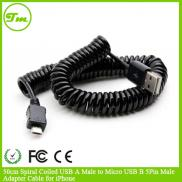 50cm Spiral Coiled USB A Male To Micro USB B 5Pin  Manufacturer