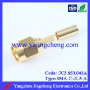 SMA Male  Plug  Crimp Straight Rf  Connector  For  Manufacturer