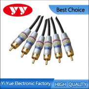 Assembly Type 3RCA Plugs To 3RCA Plugs Metal Shell Manufacturer