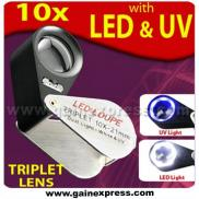 10x Jewellers Loupe Magnifier + LED & UV, 21mm, Ac Manufacturer