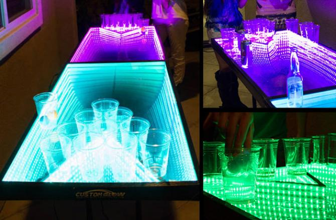 LED Ping Pong Game Table, Infinity Glow. (Photo Courtesy Of  LEDbeerpingpongtables.com.)
