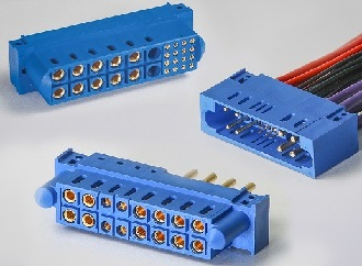 Rack and panel connectors mix power and signal contacts