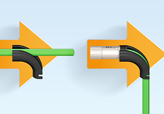 Post-fitting angling of cable connectors