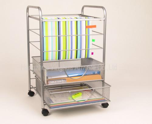 Mesh Rolling File Cart With Drawers Silver Yh3221932s