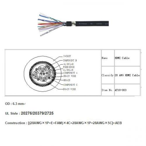 Hdmi Cable Wire At18003 Av Cables Displayport On Enofweekcom: Micro Hdmi Cable Wiring Diagram At Johnprice.co